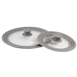 Stoneline 13705 Universal glass lid Set 16/18/20 cm and 24/26/28 cm, Transparent/Grey