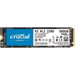 Crucial SSD P2 500 GB, SSD form factor M.2 2280, SSD interface PCIe NVMe Gen 3, Write speed 940 MB/s, Read speed 2300 MB/s