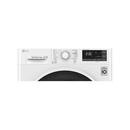 LG Dryer Machine RC80U2AV4Q Energy efficiency class A+++, Front loading, 8 kg, Heat pump, LED touch screen, Depth 69 cm, Wi-Fi,