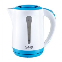 Kettle Adler AD 1244 Standard kettle, Plastic, White, 2000 W, 360° rotational base, 2.5 L