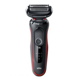 Braun Shaver 50-R1200s Cordless, Charging time 1 h, Lithium Ion, Number of shaver heads/blades 3, Black/Red, Wet & Dry