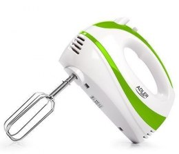 Hand Mixer Adler AD 4205 g White, green, Hand Mixer, 300 W, Number of speeds 5, Shaft material Stainless steel,