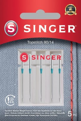 Singer Topstitch Needle 90/14 5PK Metalic Thread