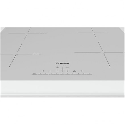 Bosch Hob PUE612FF1J Induction, Number of burners/cooking zones 4, White, Display, Timer