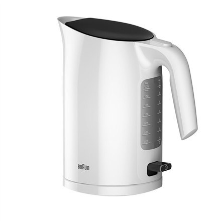 Image of Braun Kettle WK3100WH PurEase Standard, 2200 W, 1.7 L, Plastic, White, 360° rotational base