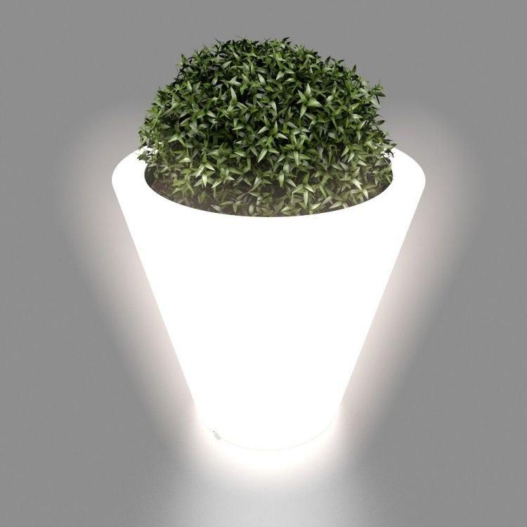 Biała donica Ovo z oświetleniem
